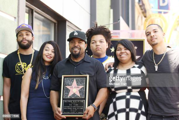 Shea Jackson Jr with his son O'Shea Jackson Jr and his family attend the ceremony honoring Ice Cube with a Star on The Hollywood Walk of Fame held on...