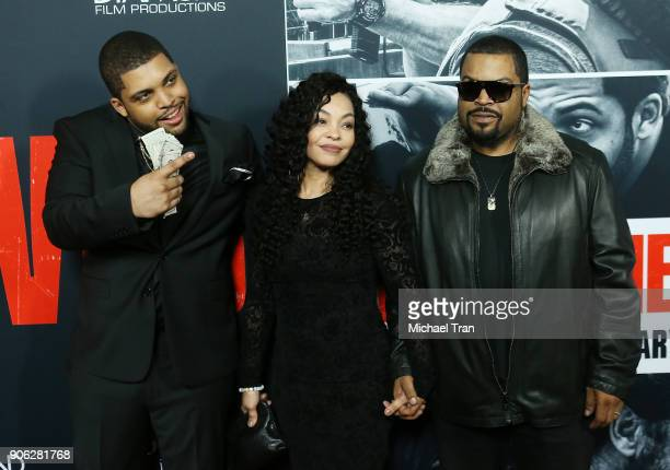 Shea Jackson Jr with Kimberly Woodruff and O'Shea 'Ice Cube' Jackson arrive to Los Angeles premiere of STX Films' 'Den Of Thieves' held at Regal LA...