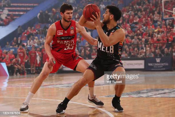 Shea Lli of Melbourne United looks to pass the ball during game one of the NBL Grand Final Series between the Perth Wildcats and Melbourne United at...