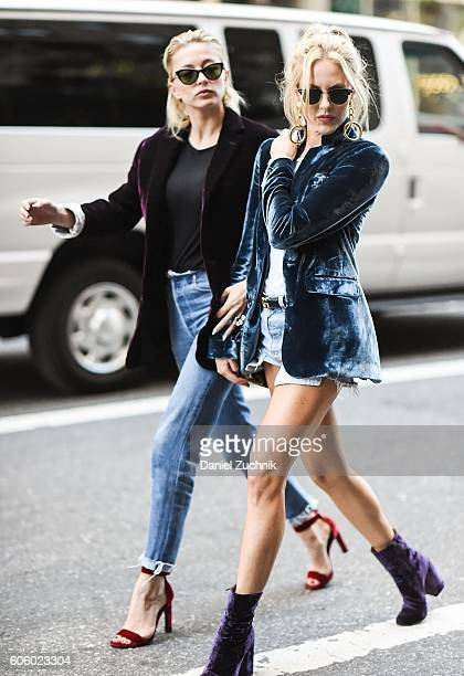 Shea Marie and Caroline Vreeland are seen outside the Marc Jacobs show during New York Fashion Week Spring 2017 on September 15 2016 in New York City