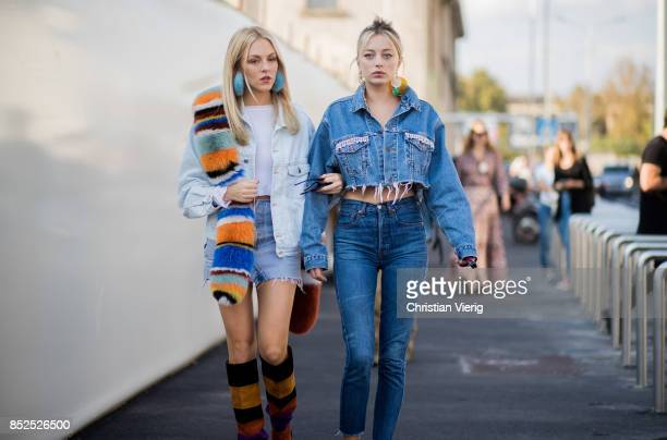 Shea Marie and Caroline Vreeland is seen outside Missoni during Milan Fashion Week Spring/Summer 2018 on September 23 2017 in Milan Italy