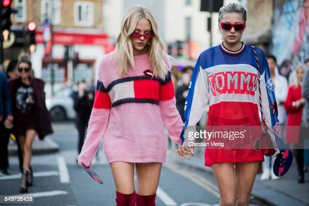 Shea Marie and Caroline Vreeland outside Tommy Hilfiger during London Fashion Week September 2017 on September 19, 2017 in London, England.