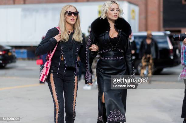 Shea Marie and Caroline Vreeland seen in the streets of Manhattan outside Jonathan Simkhai during New York Fashion Week on September 9 2017 in New...