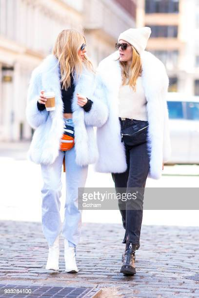 Shea Marie and Maryna Linchuck are seen wearing faux fur in NoHo on March 17 2018 in New York City
