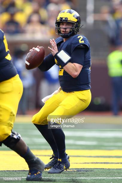 Shea Patterson of the Michigan Wolverines throws a second half pass while playing the Southern Methodist Mustangs on September 15 2018 at Michigan...