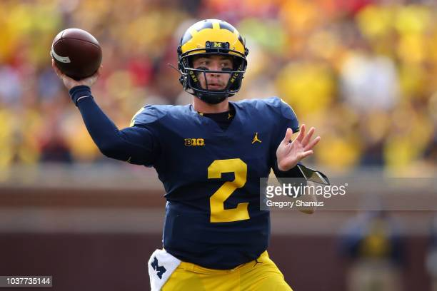 Shea Patterson of the Michigan Wolverines throws a second half pass while playing the Nebraska Cornhuskers on September 22 2018 at Michigan Stadium...