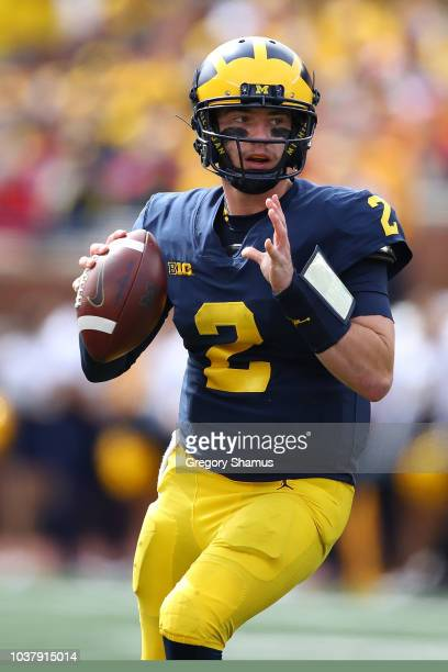Shea Patterson of the Michigan Wolverines throws a seocnd half pass while playing the Nebraska Cornhuskers on September 22 2018 at Michigan Stadium...