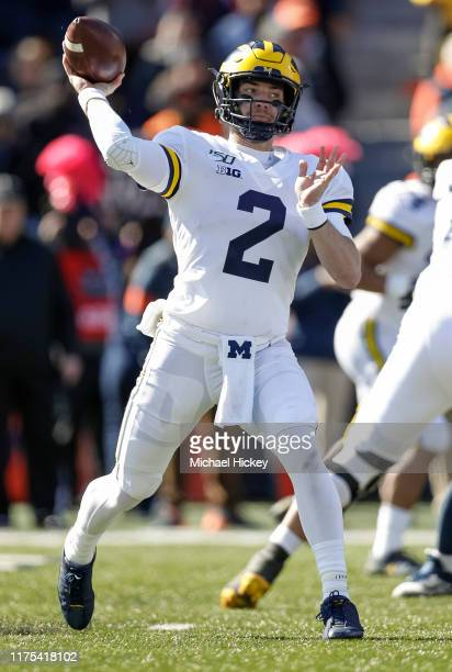 Shea Patterson of the Michigan Wolverines throws the ball during the second half against the Illinois Fighting Illini at Memorial Stadium on October...