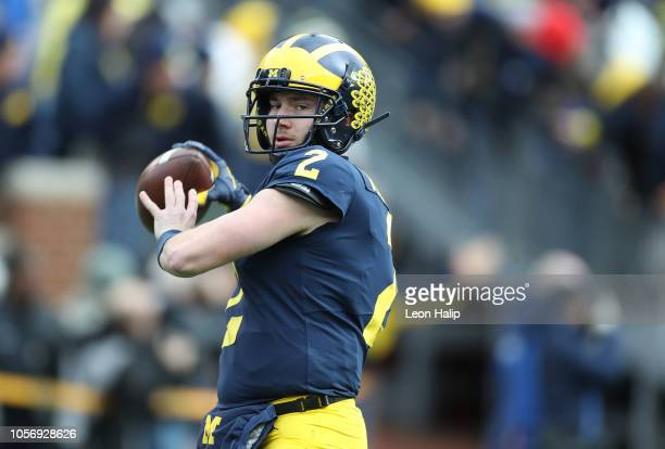 Shea Patterson of the Michigan Wolverines warms up prior to the start of the game against the Penn State Nittany Lions at Michigan Stadium on...