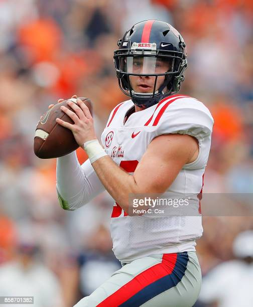 Shea Patterson of the Mississippi Rebels looks to pass against the Auburn Tigers at Jordan Hare Stadium on October 7 2017 in Auburn Alabama