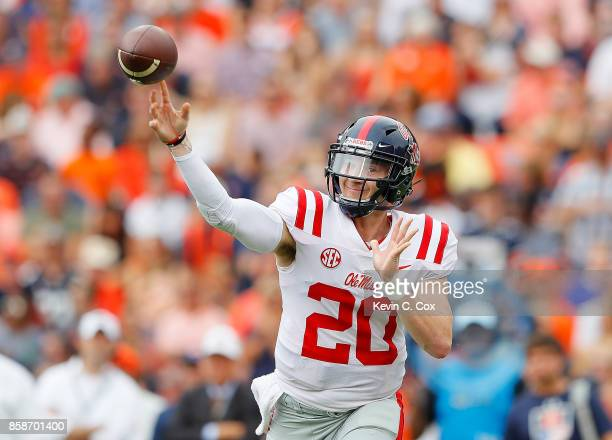 Shea Patterson of the Mississippi Rebels passes against the Auburn Tigers at Jordan Hare Stadium on October 7 2017 in Auburn Alabama
