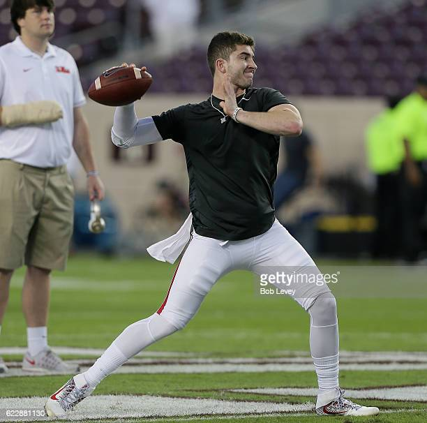 Shea Patterson of the Mississippi Rebels throws a pass in warmups before playing the Texas AM Aggies at Kyle Field on November 12 2016 in College...