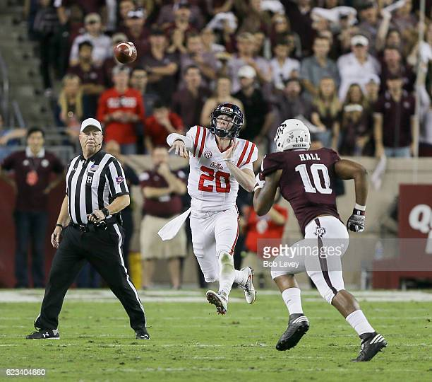 Shea Patterson of the Mississippi Rebels throws on the run as Dyaeshon Hall of the Texas AM Aggies closes in at Kyle Field on November 12 2016 in...