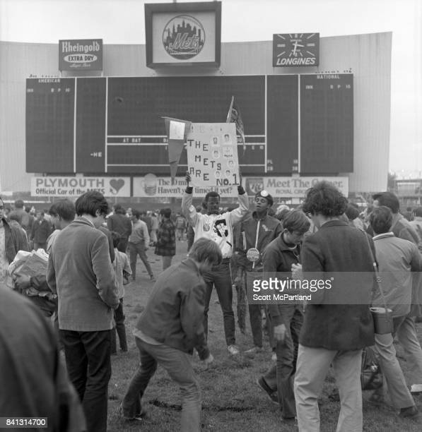 Fan appreciation spirals out of control as some begin to cut large chunks of grass out of the field while another holds a sign over his head after...