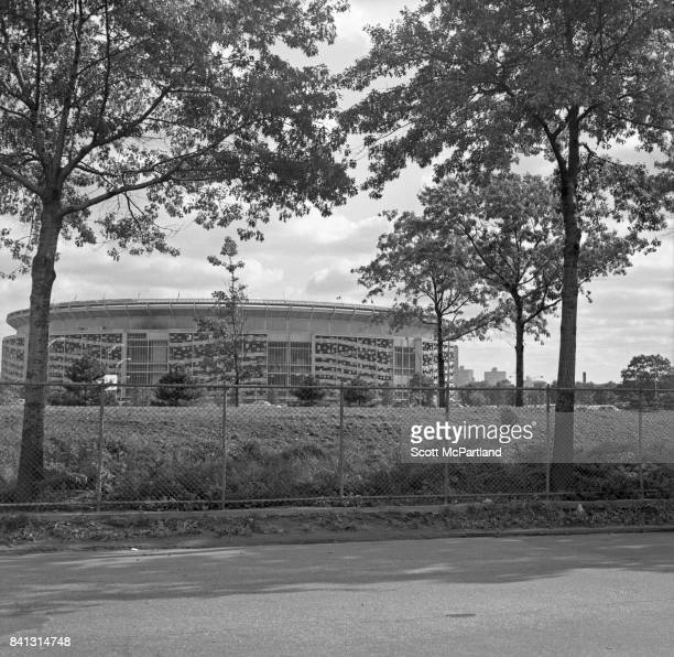 Shea Stadium as seen from the side of the Grand Central Parkway on the morning of Game 5 of the World Series