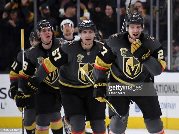 Shea Theodore of the Vegas Golden Knights celebrates after scoring on a powerplay goal with 23 seconds left in the third period to beat the Tampa Bay...