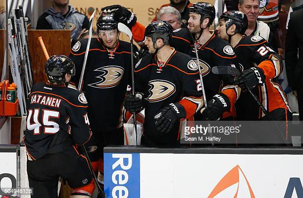 Shea Theodore of the Anaheim Ducks is congratulated after scoring a goal by Sami Vatanen Clayton Stoner and Chris Stewart during the third period of...