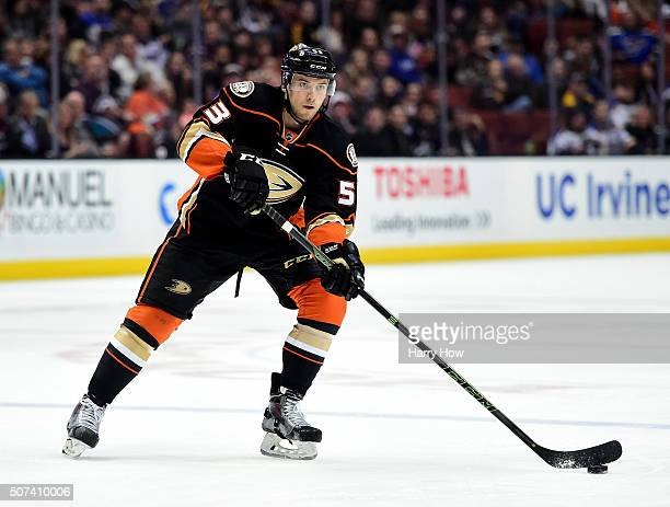 Shea Theodore of the Anaheim Ducks passes from the point during the game against the St Louis Blues at Honda Center on January 8 2016 in Anaheim...