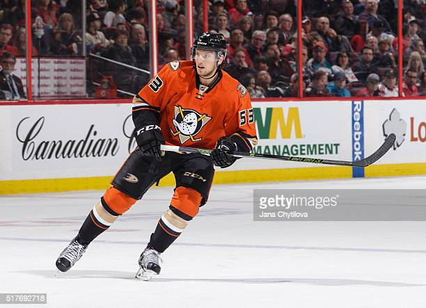 Shea Theodore of the Anaheim Ducks skates against the Ottawa Senators at Canadian Tire Centre on March 26 2016 in Ottawa Ontario Canada