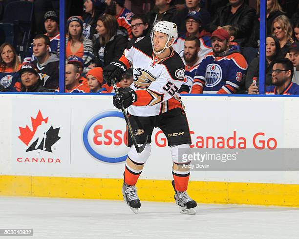 Shea Theodore of the Anaheim Ducks skates during a game against the Edmonton Oilers on December 31 2015 at Rexall Place in Edmonton Alberta Canada