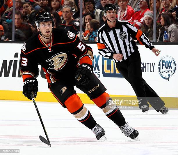 Shea Theodore of the Anaheim Ducks skates during the game against the Detroit Red Wings on January 10 2016 at Honda Center in Anaheim California