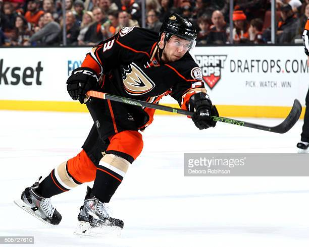 Shea Theodore of the Anaheim Ducks skates during the game against the Dallas Stars on January 15 2016 at Honda Center in Anaheim California