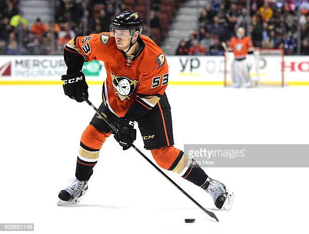 Shea Theodore of the Anaheim Ducks takes a shot on the power play during the game against the Toronto Maple Leafs at Honda Center on January 6 2016...