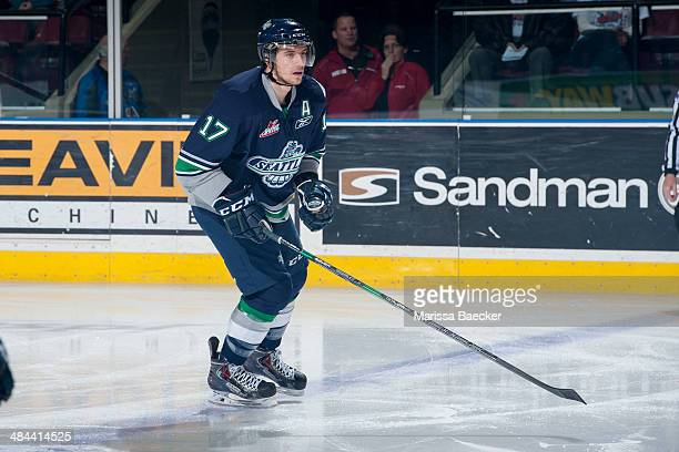 Shea Theodore of the Seattle Thunderbirds skates against the Kelowna Rockets on April 3 2014 during Game 1 of the second round of WHL Playoffs at...