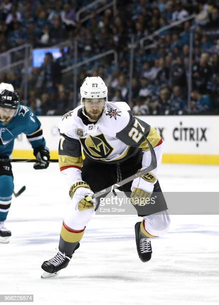 Shea Theodore of the Vegas Golden Knights in action against the San Jose Sharks during Game Six of the Western Conference Second Round during the...