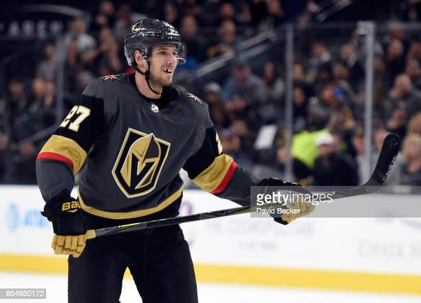 Shea Theodore of the Vegas Golden Knights looks on during a preseason game against the Los Angeles Kings at TMobile Arena on September 26 2017 in Las...