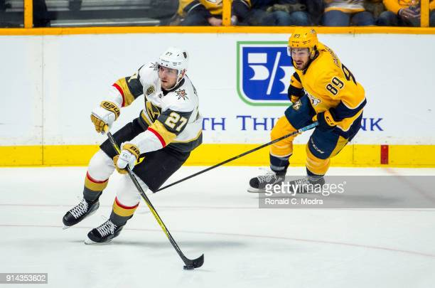 Shea Theodore of the Vegas Golden Knights skates against the Nashville Predators during a NHL game at Bridgestone Arena on January 16 2018 in...
