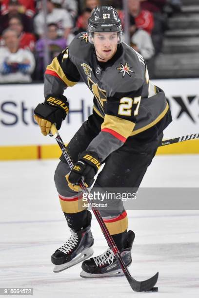 Shea Theodore of the Vegas Golden Knights skates with the puck against the Chicago Blackhawks during the game at TMobile Arena on February 13 2018 in...