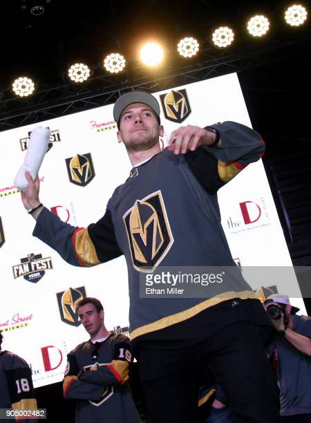 Shea Theodore of the Vegas Golden Knights throws Tshirts to the crowd as he is introduced at the Vegas Golden Knights Fan Fest at the Fremont Street...