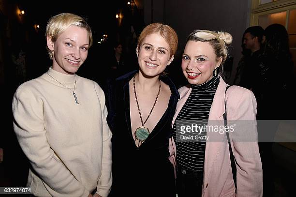Shea Vititow Austyn Weiner and Andrea Marie Breiling attend the Austyn Weiner Exhibition Opening at The Lodge on January 28 2017 in Los Angeles...