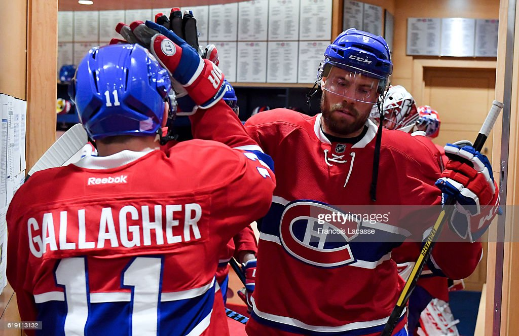 Shea Weber #6 and Brendan Gallagher #11of the Montreal Canadiens before the NHL game against the Toronto Maple Leafs in the NHL game at the Bell Centre on October 29, 2016 in Montreal, Quebec, Canada.