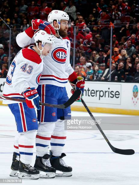 Shea Weber and Jordan Weal of the Montreal Canadiens celebrate Weber's second period goal during the game against the Anaheim Ducks on March 8 2019...