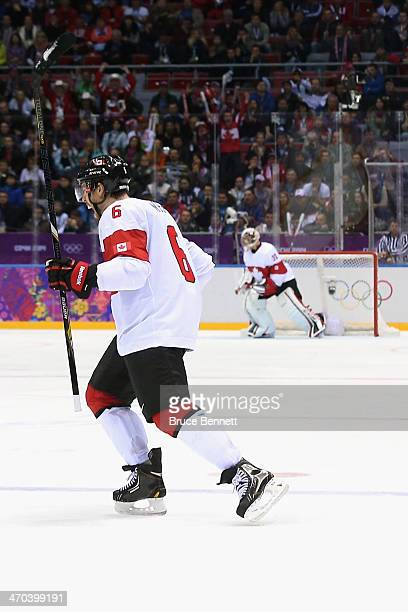 Shea Weber of Canada celebrates his third-period goal against Latvia during the Men's Ice Hockey Quarterfinal Playoff on Day 12 of the 2014 Sochi...