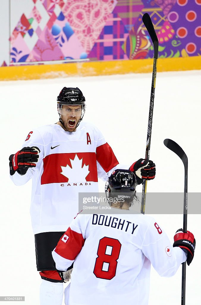 Shea Weber #6 of Canada celebrates his third-period goal against Latvia with teammate Drew Doughty #8 during the Men's Ice Hockey Quarterfinal Playoff on Day 12 of the 2014 Sochi Winter Olympics at Bolshoy Ice Dome on February 19, 2014 in Sochi, Russia.