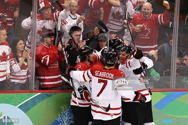Shea Weber of Canada celebrates with his team after scoring a goal against Russia during the ice hockey men's quarter final game between Russia and...