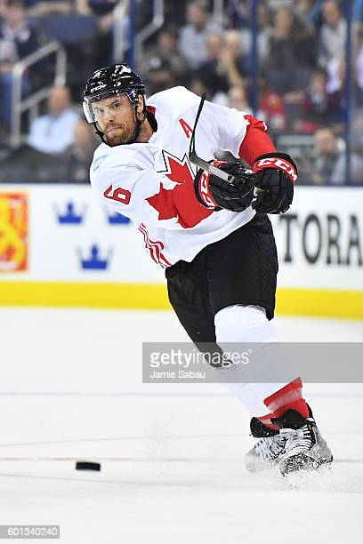 Shea Weber of Team Canada shoots the puck up ice during the first period of an exhibition game against Team USA on September 9 2016 at Nationwide...