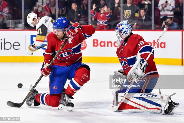 Shea Weber of the Montreal Canadiens blocks a shot late in the third period near goaltender Charlie Lindgren against the Vegas Golden Knights during...