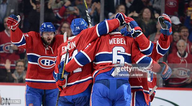 Shea Weber of the Montreal Canadiens celebrates after scoring a goal against the Philadelphia Flyers in the NHL game at the Bell Centre on October 24...