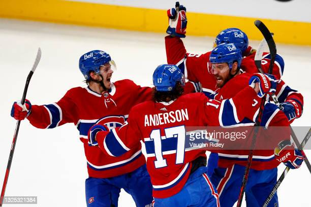 Shea Weber of the Montreal Canadiens celebrates with his teammates after scoring a goal on Robin Lehner of the Vegas Golden Knights during the first...