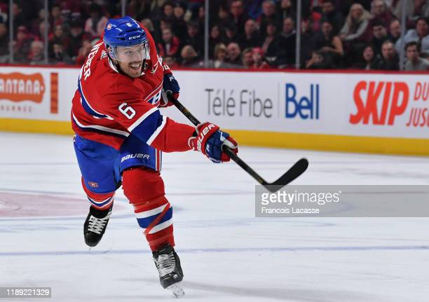 Shea Weber of the Montreal Canadiens fires a slap shot against the New Jersey Devils in the NHL game at the Bell Centre on November 16, 2019 in...