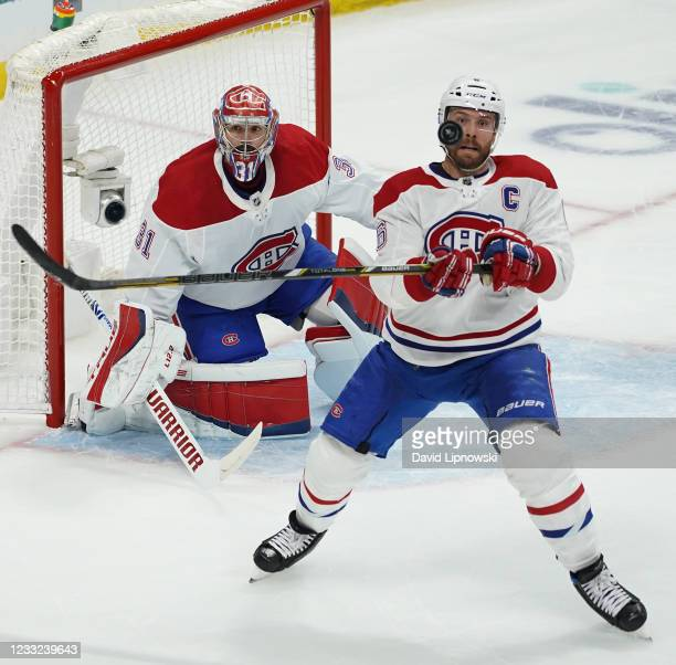 Shea Weber of the Montreal Canadiens keeps his eye on the puck in front of Carey Price as they play the Winnipeg Jets in Game One of the Second Round...