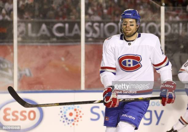 Shea Weber of the Montreal Canadiens looks on in a game against the Ottawa Senators during the 2017 Scotiabank NHL100 Classic at Lansdowne Park on...