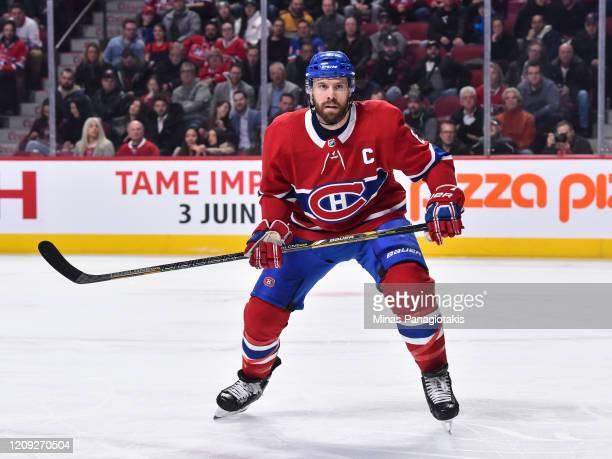 Shea Weber of the Montreal Canadiens skates against the New York Rangers during the first period at the Bell Centre on February 27, 2020 in Montreal,...