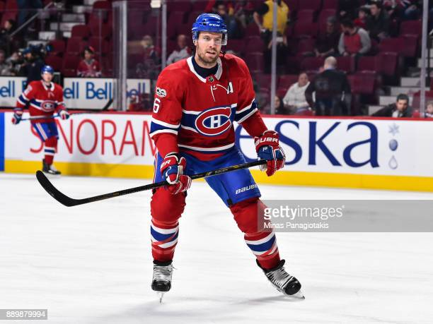 Shea Weber of the Montreal Canadiens skates during the warmup prior to the NHL game against the Calgary Flames at the Bell Centre on December 7 2017...