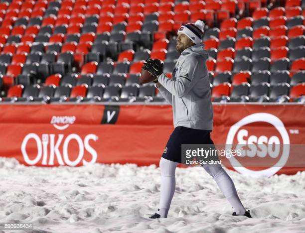 Shea Weber of the Montreal Canadiens warms up in advance of the 2017 Scotiabank NHL100 Classic at Lansdowne Park on December 16, 2017 in Ottawa,...