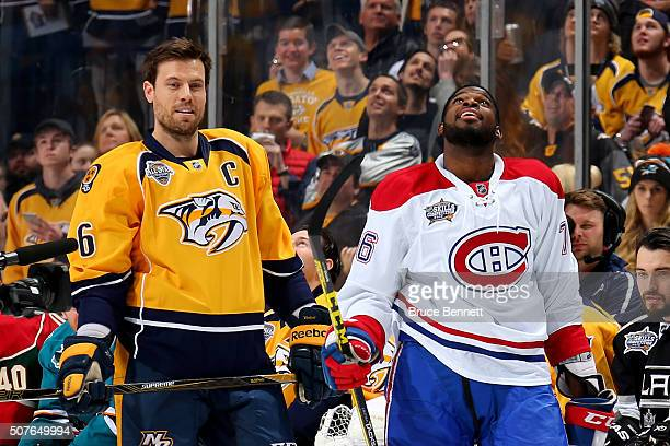 Shea Weber of the Nashville Predators and PK Subban of the Montreal Canadiens look on in the AMP Energy NHL Hardest Shot during the 2016 Honda NHL...